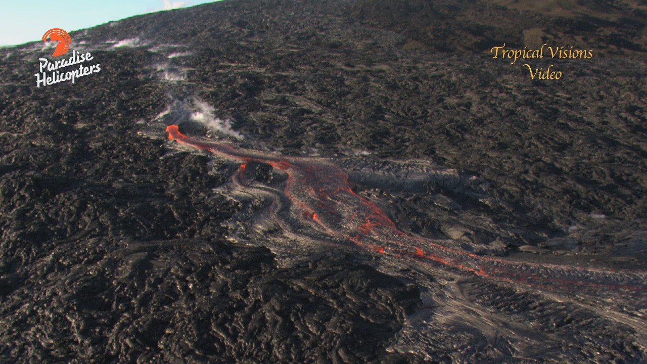 Wide view of today's lava breakout, captured by Mick Kalber of Tropical Visions Video aboard Paradise Helicopters.