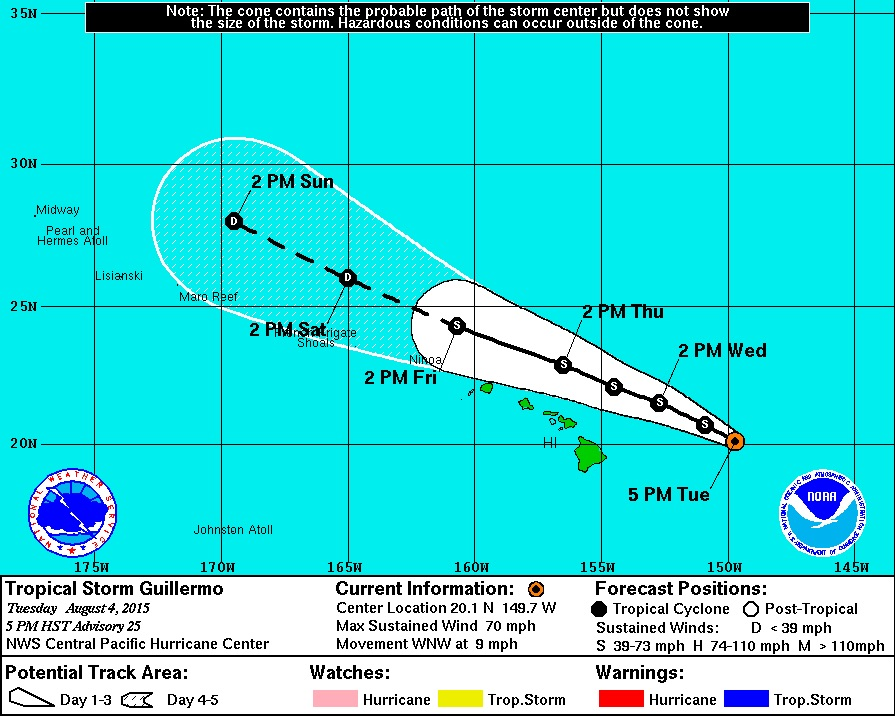 5 pm Update – Guillermo Still Strong Tropical Storm