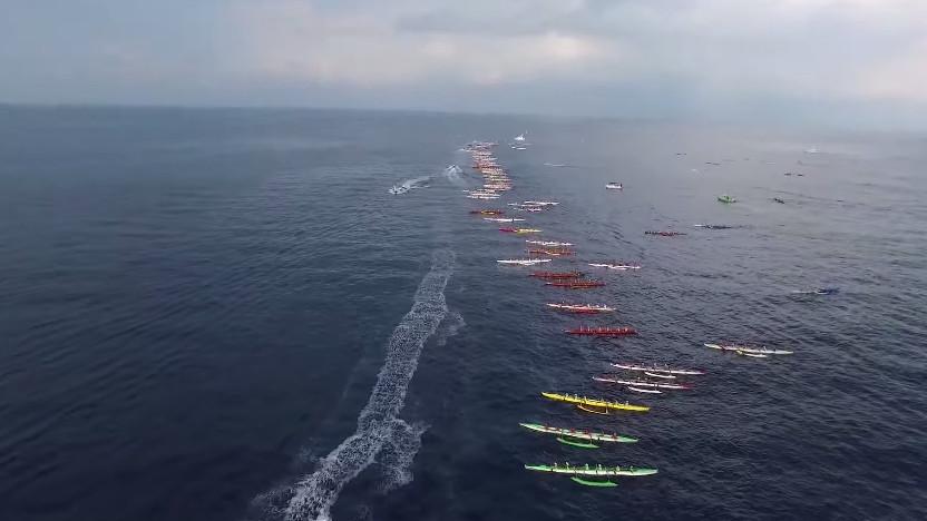 VIDEO: Start Of Queen Lili'uokalani Canoe Race Filmed From Above