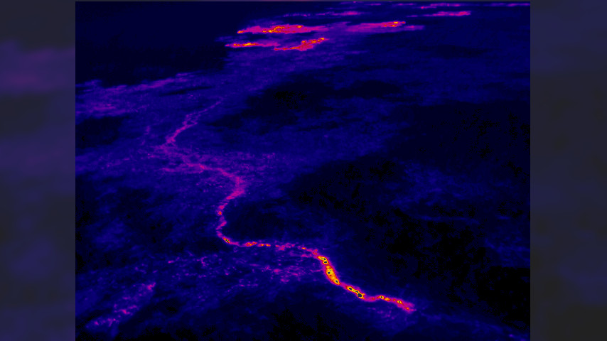 (USGS) The trace of the new lava tube is easily visible in the thermal images. This view looks northeast, and the breakouts along the forest boundary are visible near the top edge of the photograph.