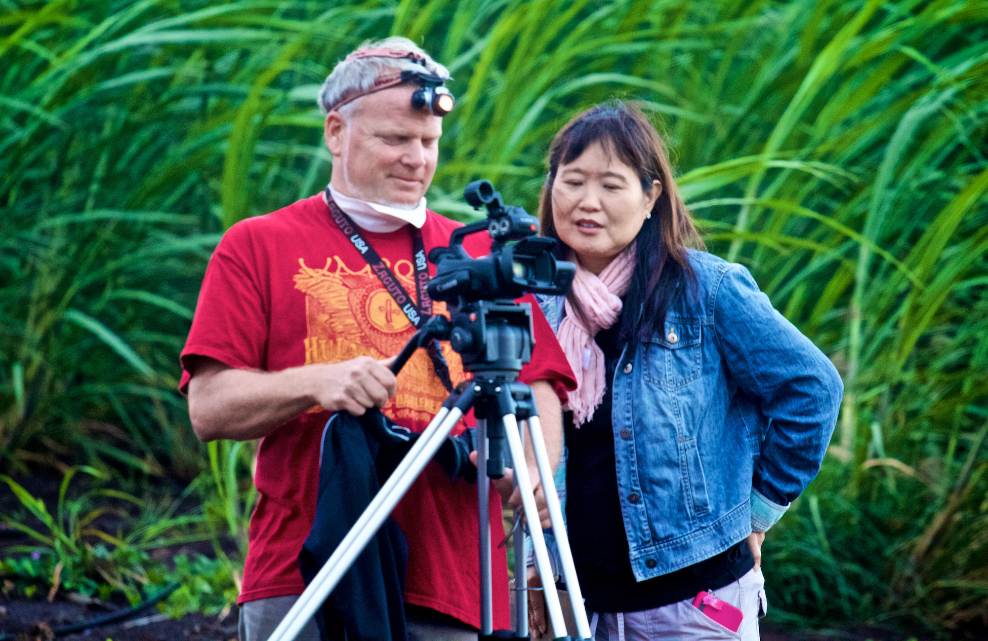 Cane fire: Filmmaker Danny Miller and Executive Producer Patsy Y. Iwasaki received permission from Hawaiian Commercial & Sugar Company on Maui to film a sugar cane burning before harvesting. Maui is the only location in Hawaii where sugar cane is grown for processing.