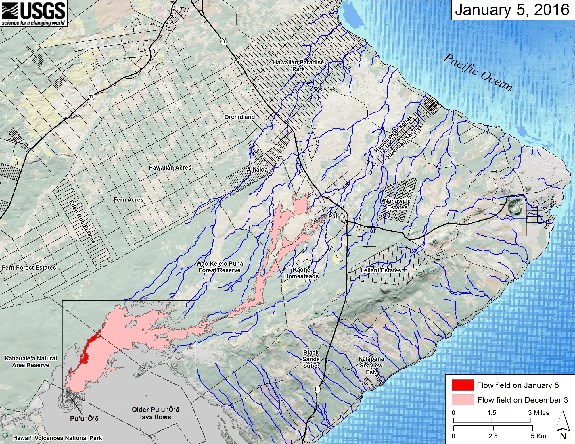 This small-scale map shows Kīlauea's active East Rift Zone lava flow in relation to the eastern part of the Island of Hawaiʻi. The area of the flow field on December 3 is shown in pink, while widening and advancement of the flow field as mapped on January 5 is shown in red. The yellow lines show the active lava tube system. Puʻu ʻŌʻō lava flows erupted prior to June 27, 2014, are shown in gray. The black box shows the extent of the accompanying large scale map. The blue lines show steepest-descent paths calculated from a 1983 digital elevation model.
