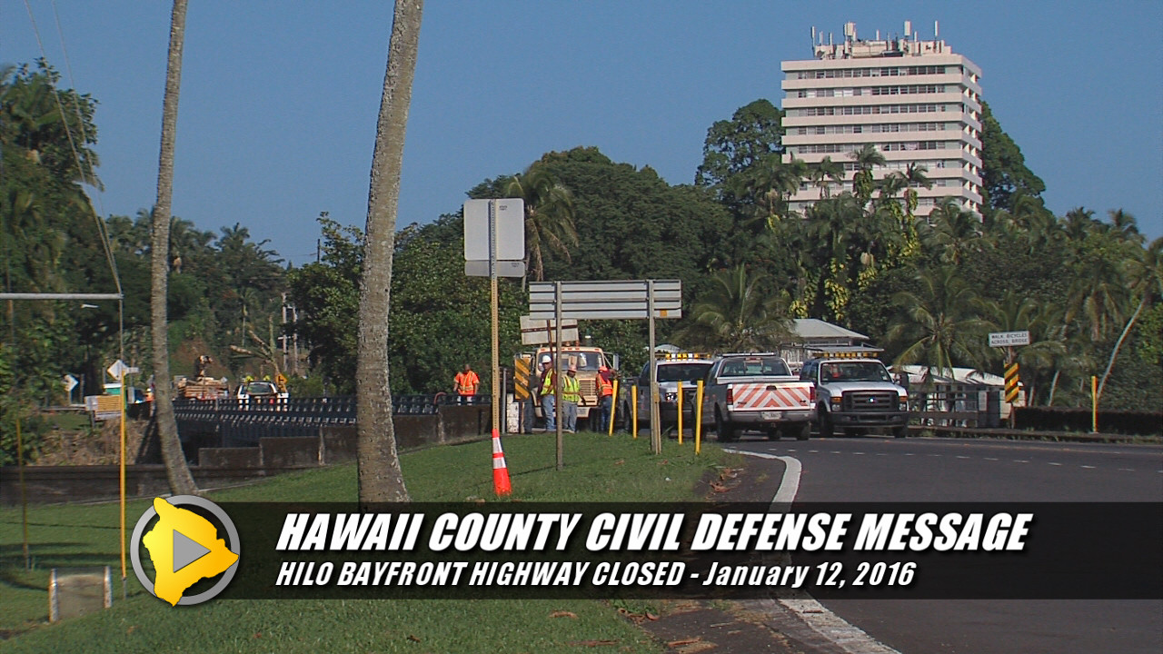 VIDEO: Hilo Bayfront Highway Closed For Singing Bridge Work