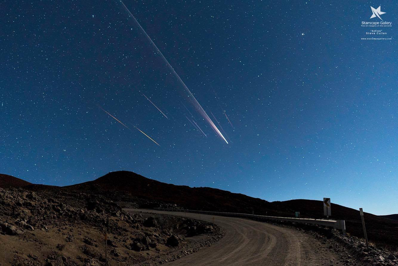 Burning Space Debris Photographed Over Mauna Kea
