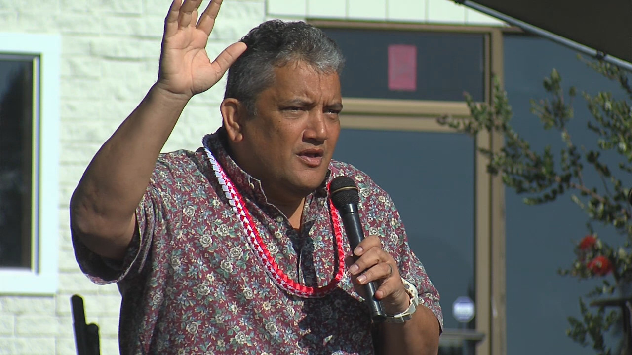 Mayor Billy Kenoi speaking at the Waimea Cherry Blossom Festival on Saturday, Feb. 6, 2016.