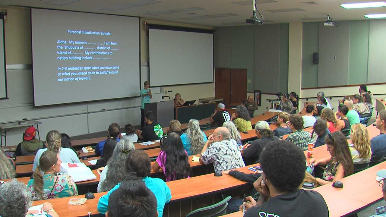 Well over a hundred people participated in the 'Aha Aloha Aina at UH Hilo Tuesday night.