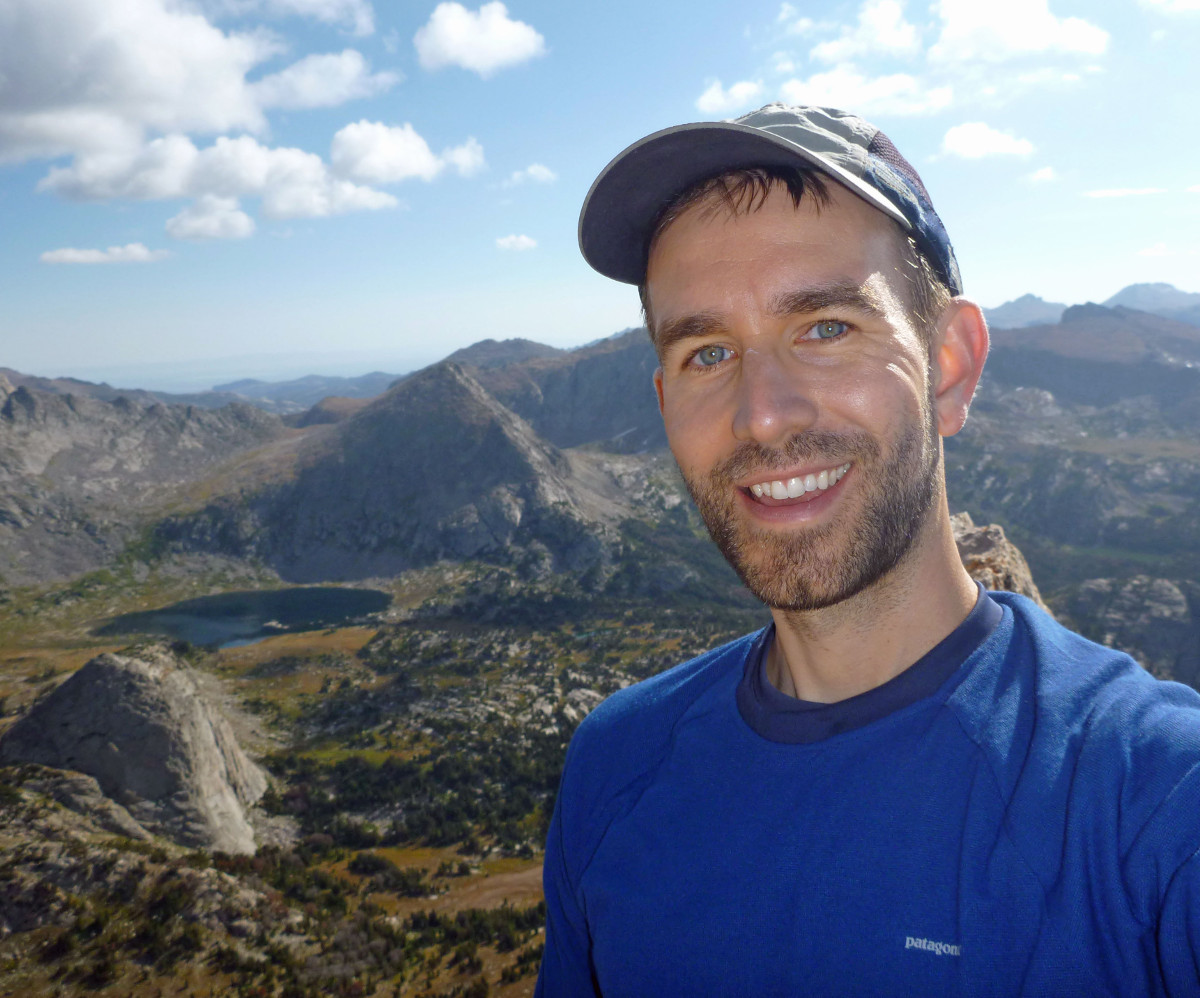 (USGS HVO) Brian Shiro in the Wind River Range, Wyoming during a National Outdoor Leadership School expedition. Photo courtesy B. Shiro.