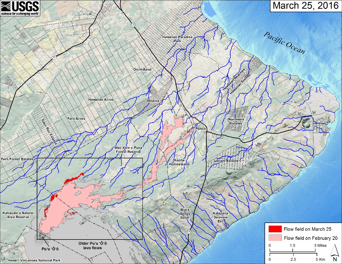 USGS MAP: This small-scale map shows Kīlauea's active East Rift Zone lava flow field in relation to the eastern part of the Island of Hawaiʻi. The area of the flow field on February 20 is shown in pink, while widening and advancement of the flow field as mapped on March 25 is shown in red. Puʻu ʻŌʻō lava flows erupted prior to June 27, 2014, are shown in gray. The black box shows the extent of the accompanying large scale maps. The blue lines show steepest-descent paths calculated from a 1983 digital elevation model (DEM). Steepest-descent path analysis is based on the assumption that the DEM perfectly represents the earth's surface. DEMs, however, are not perfect, so the blue lines on this map can be used to infer only approximate potential flow paths. The base map is a partly transparent regional land cover map from National Oceanic and Atmospheric Administration (NOAA) Office of Coastal Management draped over a 1983 10-m digital elevation model (DEM). The bathymetry is also from NOAA.
