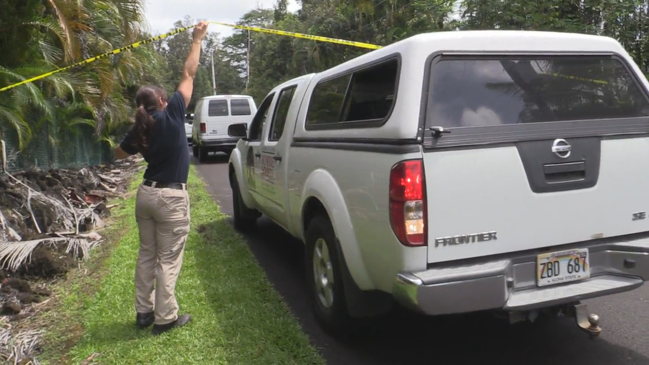 A Humane Society vehicle leaving the crime scene with police assistance. Image from video by Daryl Lee.