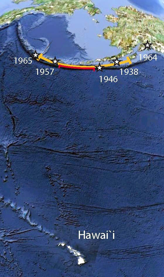 The map showing the Aleutians with respect to Hawai'i. The red and yellow arcs indicate the sections of the Aleutian subduction zones considered in the probability analysis. Stars and dates indicate epicenters of prior 20th century great earthquakes (Mw > 8). Credit: Butler et al., 2016.