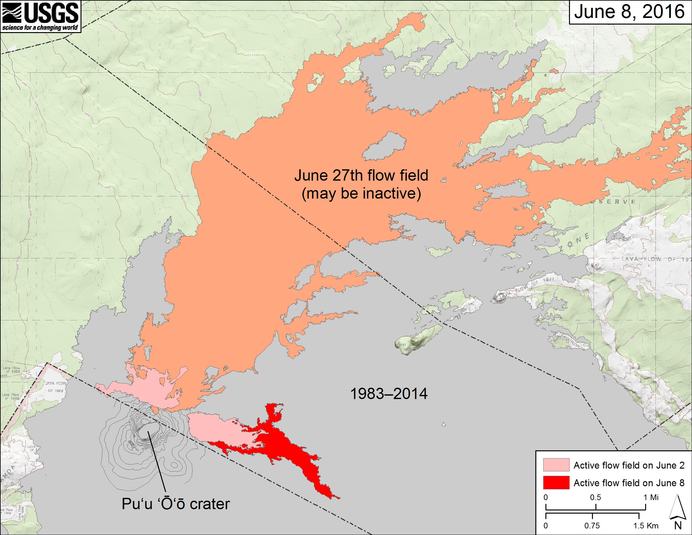 "This USGS map shows ""recent changes to Kīlauea's active East Rift Zone lava flow field. The area covered by the June 27th flow (which may be inactive) as of June 2 is shown in orange. The areas covered by the recent breakouts at Puʻu ʻŌʻō as of June 2 are shown in pink, while widening and advancement of the new breakouts as mapped on June 8 is shown in red. The northern breakout is inactive. Puʻu ʻŌʻō lava flows erupted prior to June 27, 2014, are shown in gray. Puʻu ʻŌʻō is at lower left."""