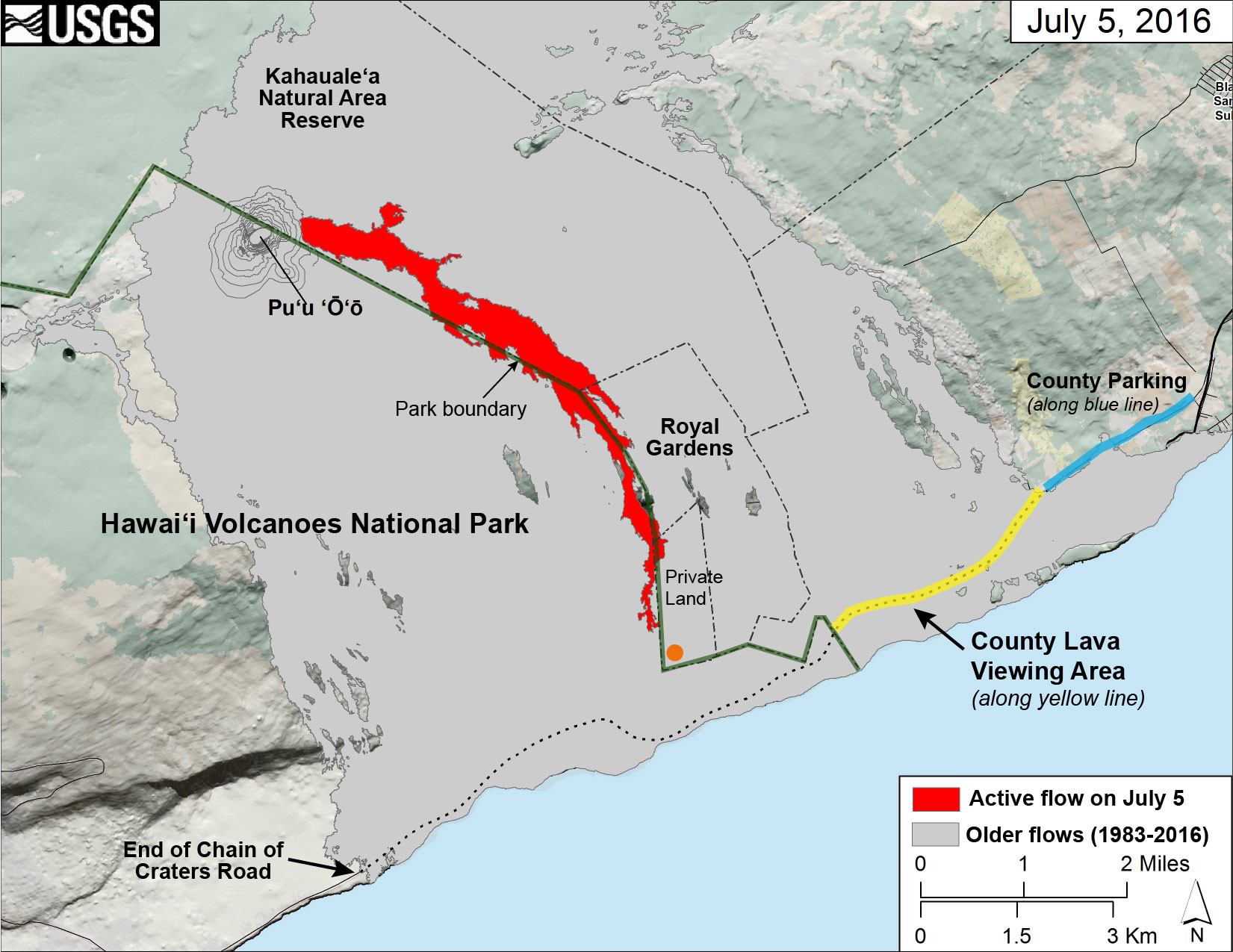 This map of Kīlauea Volcano's lava flow shows the locations of Hawaiʻi County's designated lava-viewing and parking areas (http://www.hawaiicounty.gov/lava-viewing/), as well as the lava flow's location relative to the Hawaiʻi Volcanoes National Park boundary (green line). The full extent of the active lava flow on July 5 is shown in red; an orange dot shows the location of the flow front as of mid-day on July 7. For recent maps and photos of the lava flow, please visit the USGS Hawaiian Volcano Observatory website. USGS graphic.