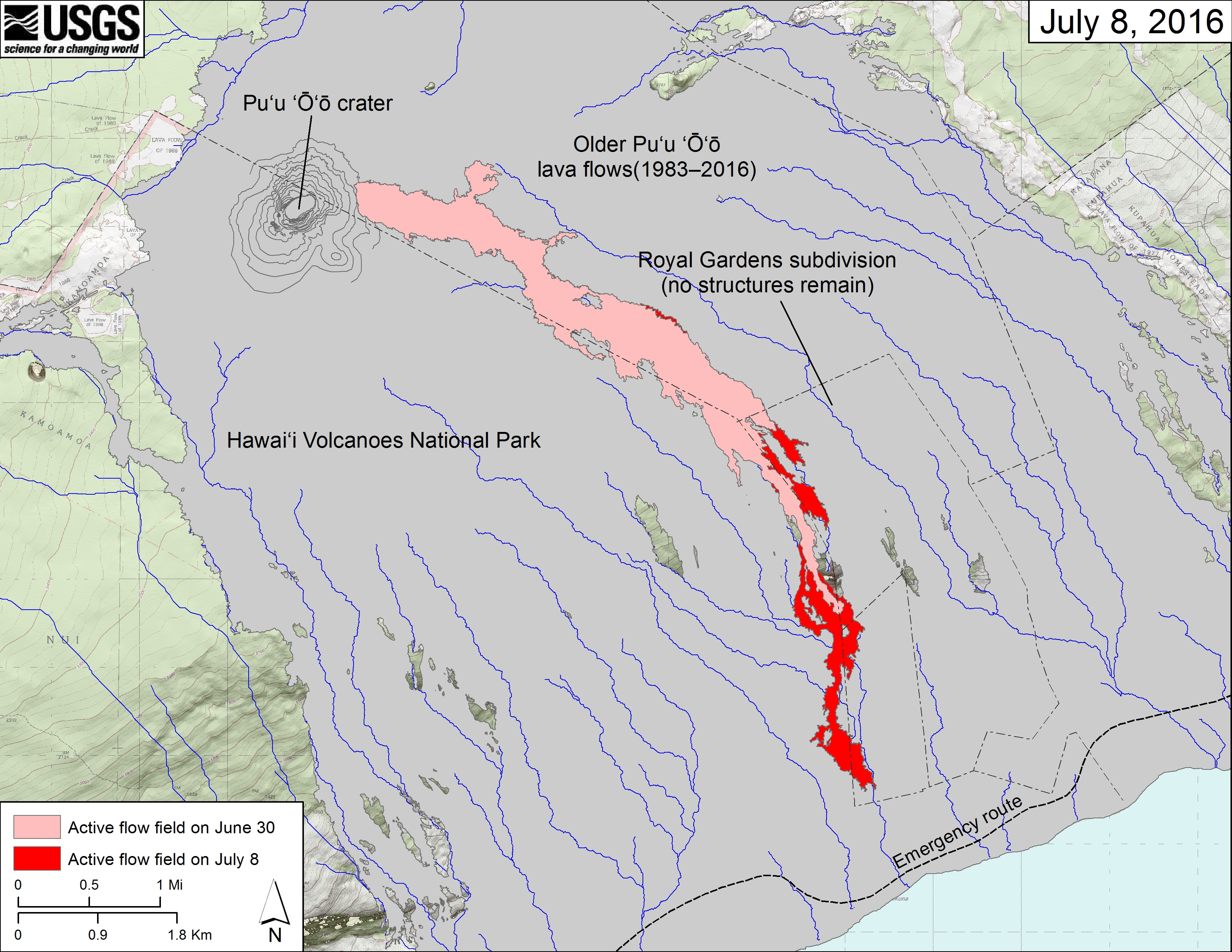 (USGS map) The area of the active flow field as of June 30 is shown in pink, while widening and advancement of the active flow as mapped on July 8 is shown in red. Older Puʻu ʻŌʻō lava flows (1983–2016) are shown in gray.