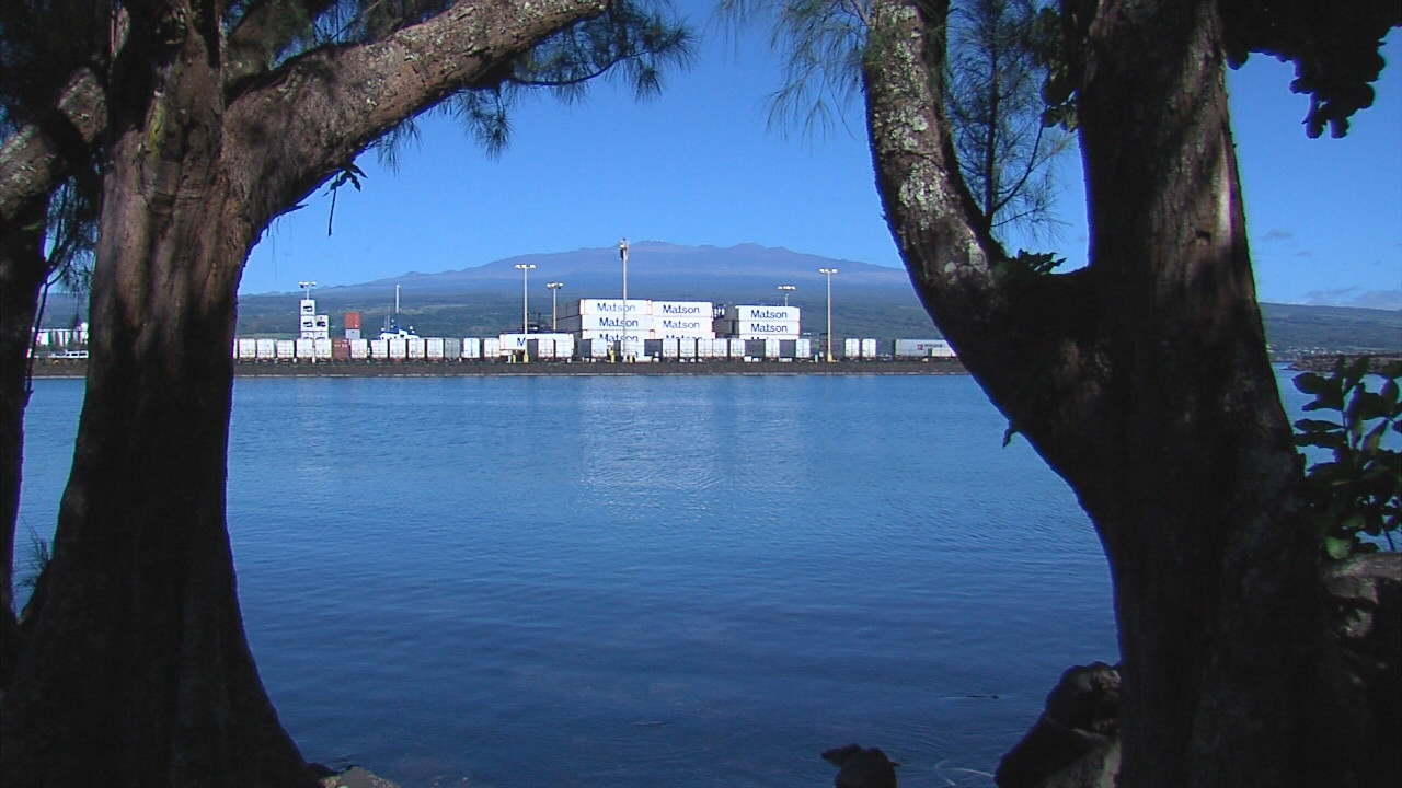 Mauna Kea, seen in the background, from the shore of Palekai.