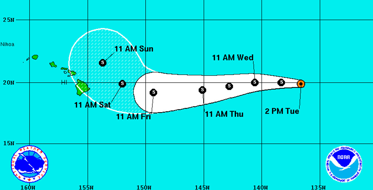 Darby Forecast To Pass North Of Hawaii As Tropical Storm