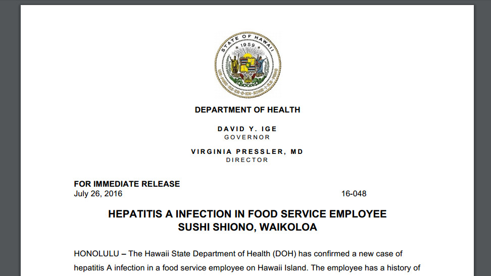 Hawaii Island Hepatitis A Infection Reported