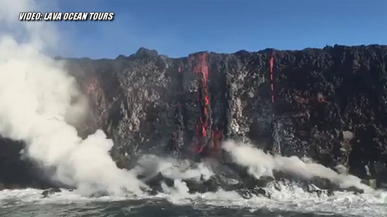 VIDEO: First Look At Hawaii's New Lava Ocean Entry