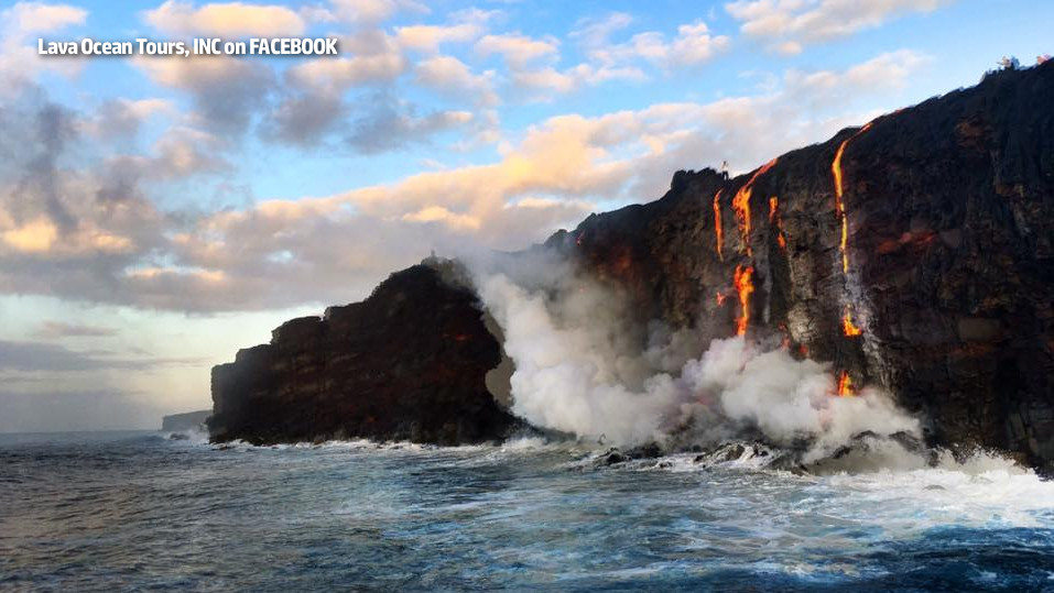 Lava Flow Enters The Ocean Once Again