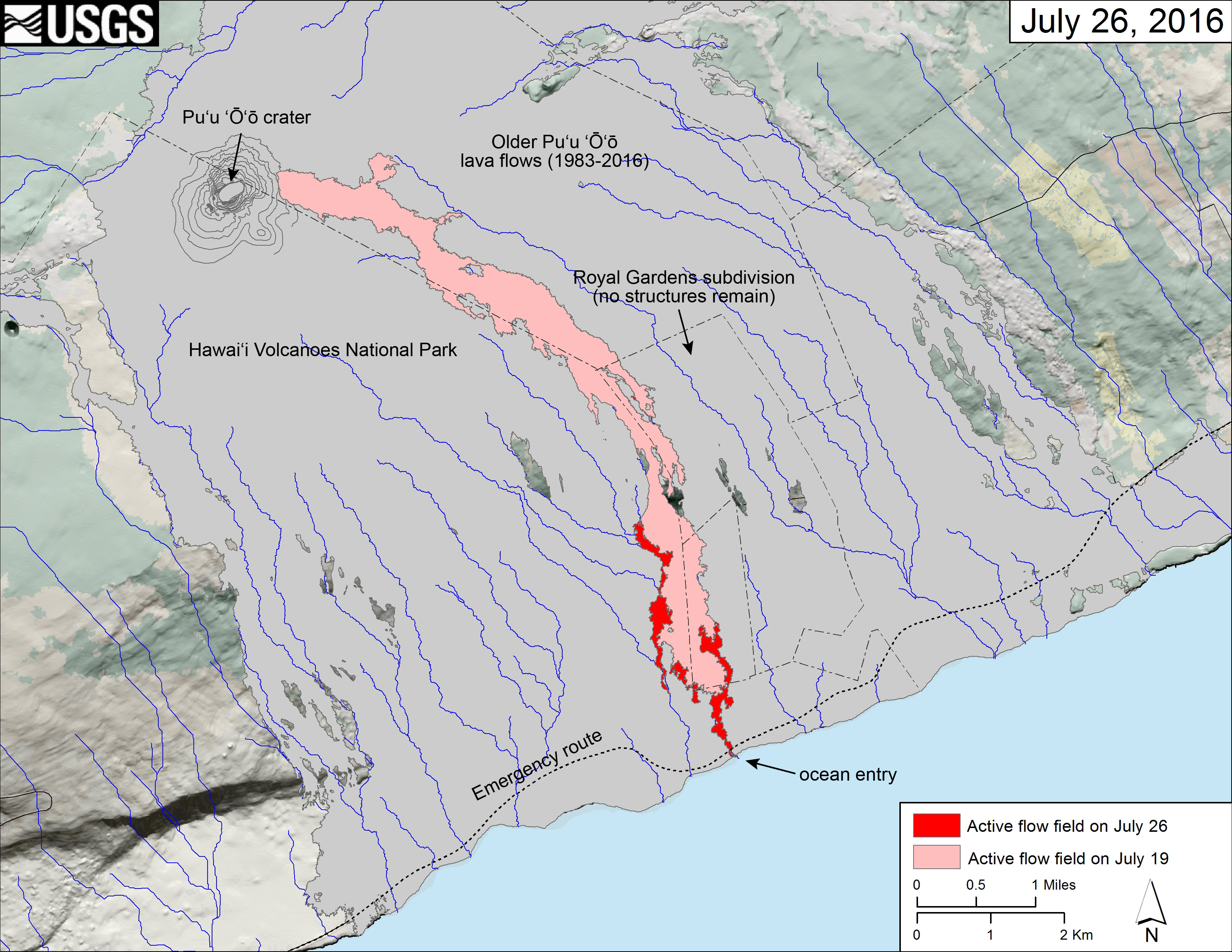 (USGS map) The area of the active flow field as of July 19 is shown in pink, while widening and advancement of the active flow as mapped on July 26 is shown in red. Lava reached the ocean on the morning of July 26. Older Puʻu ʻŌʻō lava flows (1983–2016) are shown in gray.