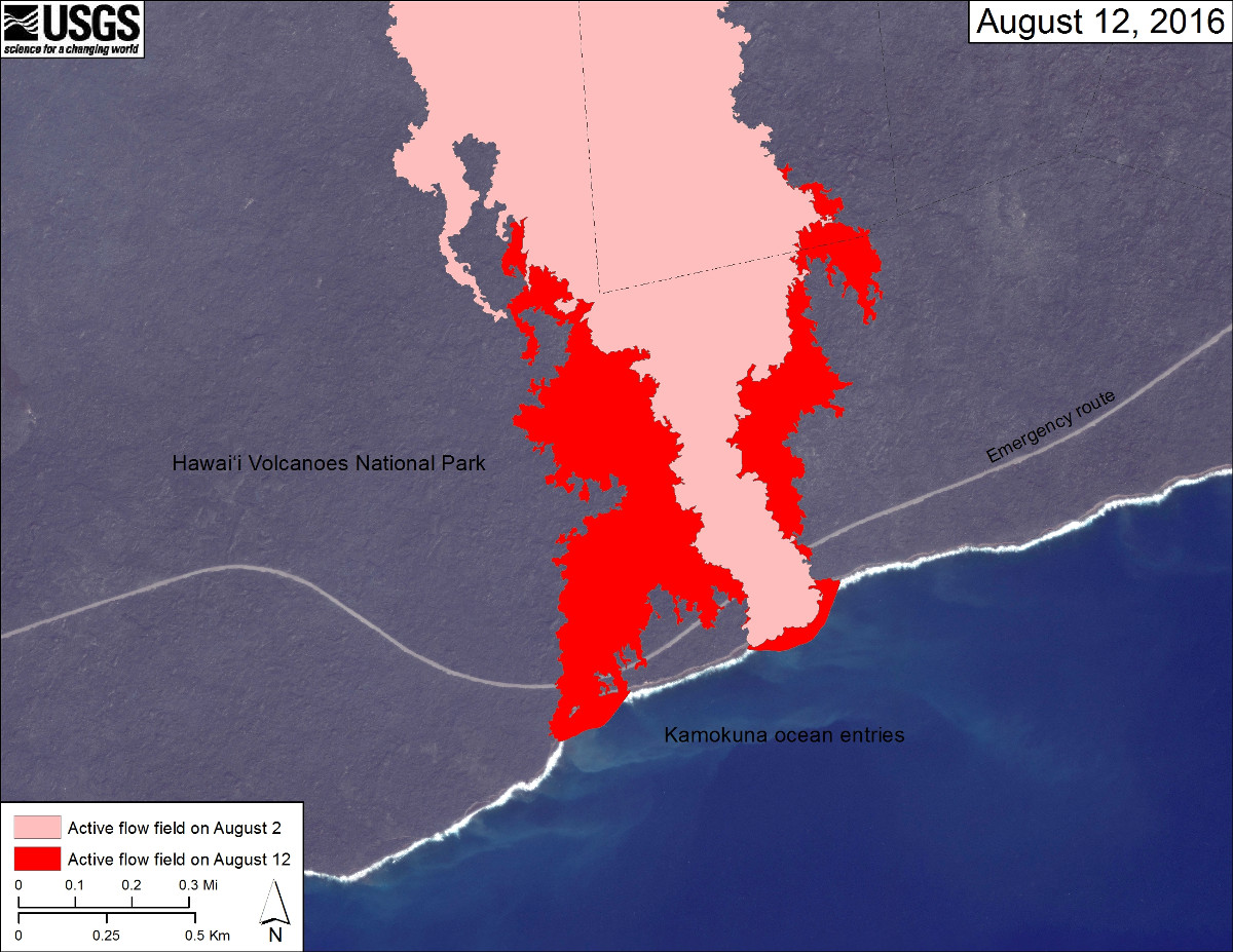 (USGS map) The area of the active flow field as of August 2 is shown in pink, while widening and advancement of the active flow as mapped on August 12 is shown in red.