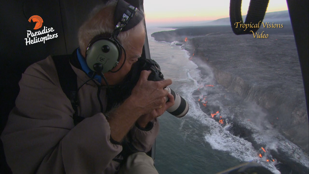 John Chaney takes a shot of the growing lava ocean entry, image from video by Mick Kalber.