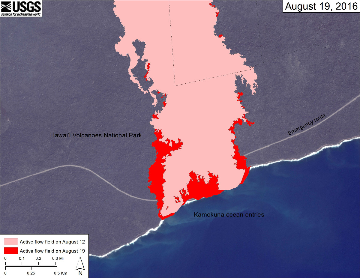 This USGS map shows recent changes to Kīlauea's East Rift Zone lava flow field at the coast. The area of the active flow field as of August 12 is shown in pink, while widening and advancement of the active flow as mapped on August 19 is shown in red.
