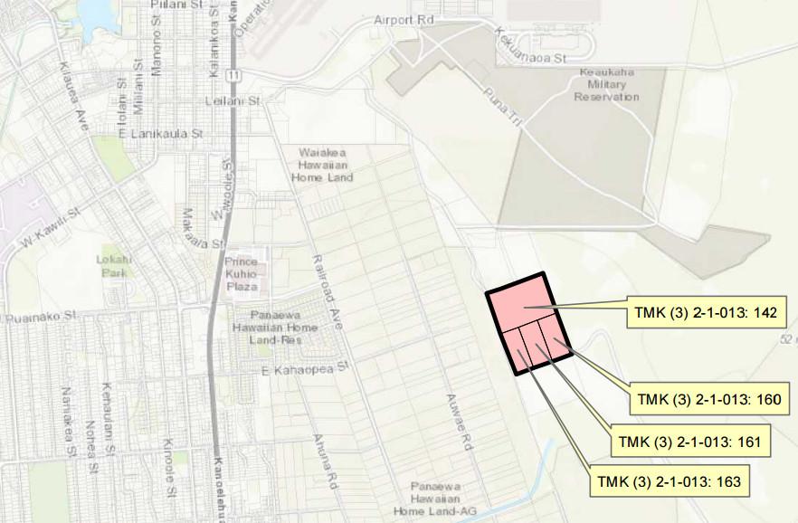 Location of EHOF in Hilo, courtesy EHOF draft EA