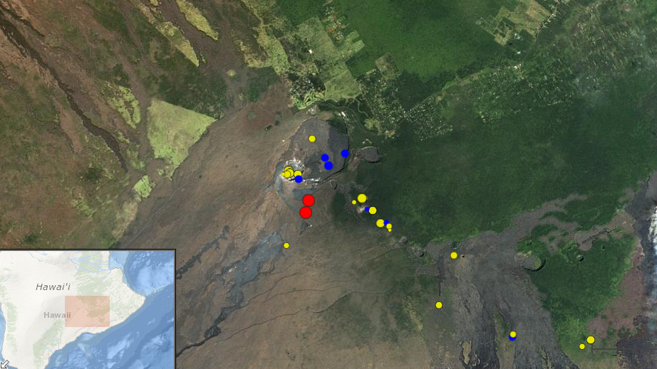 The red dots show the two magnitude 3.1 earthquakes that occurred today near the summit. The blue dots are quakes that occurred within the last two days, and the yellow dots show quakes from the last two weeks. Screen grab from the USGS HVO webspage.