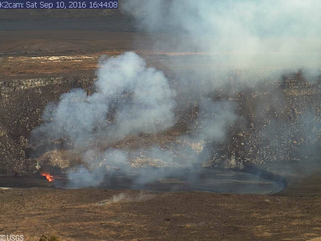 View of the lava lake from an HVO webcam taken just before 5 p.m. HST.