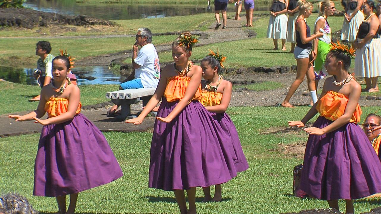 Hula dancers perform at the 2016 Queen Lili'uokalani Festival.