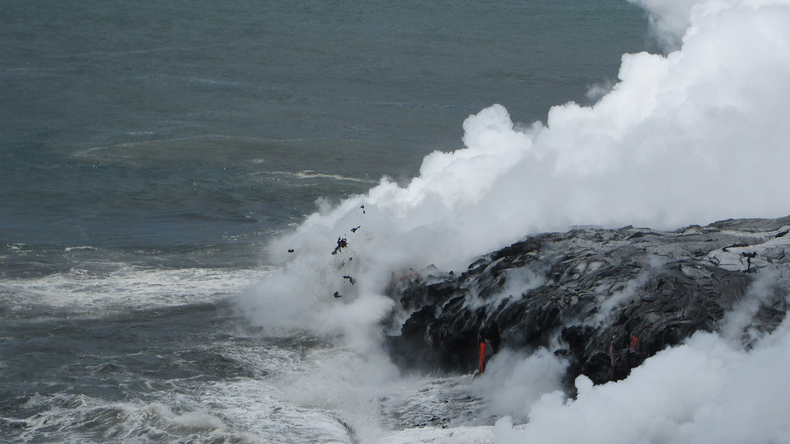 Lava Ocean Entry Plume Focus Of Volcano Watch