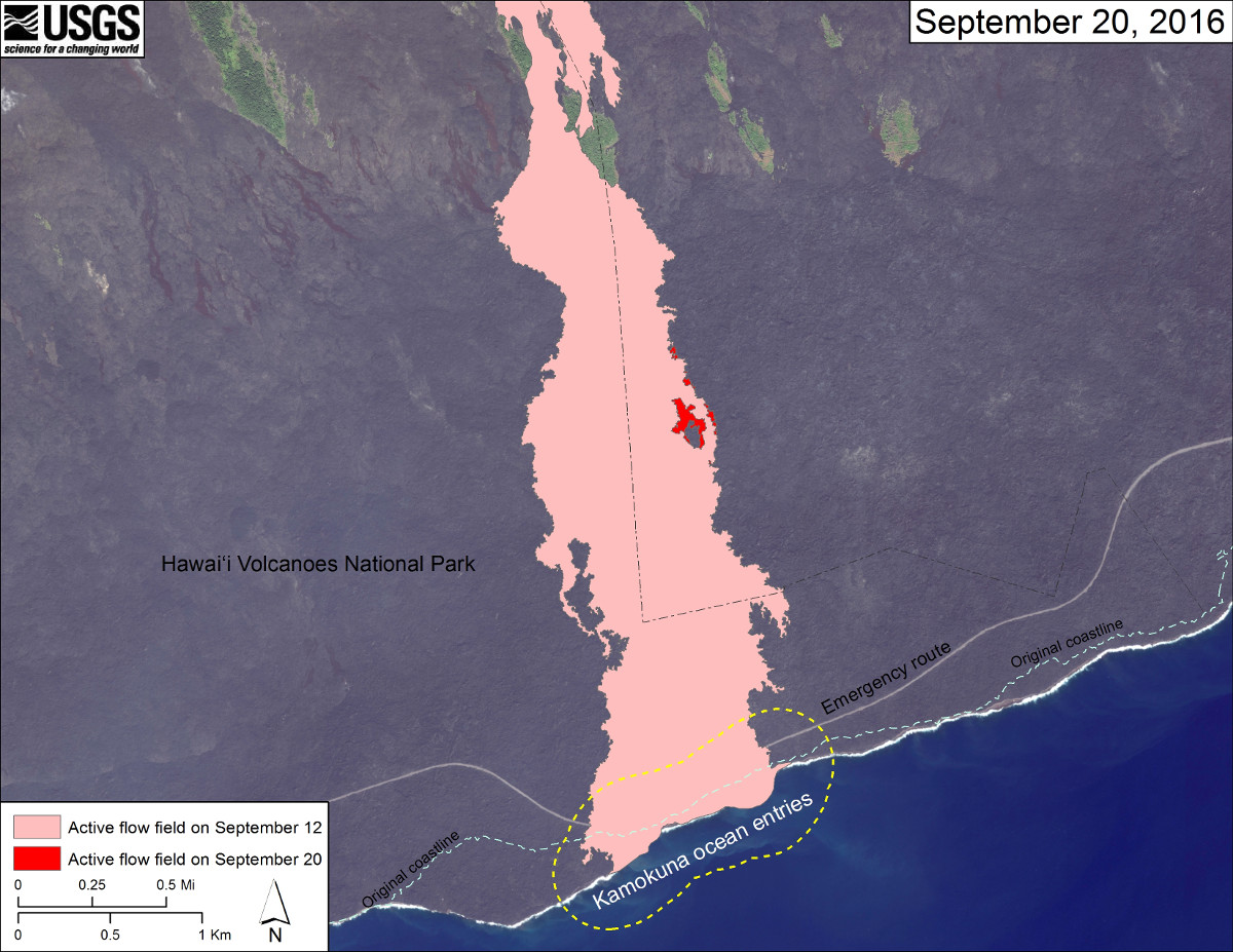 The most recent map from USGS shows the  area of the active flow field as of September 12 (in pink), while widening and advancement of the active flow as mapped on September 20 is shown in red. The dashed blue line shows the pre-1983 coastline. The dotted line surrounding the Kamokuna lava delta indicates a distance of 790 feet, which is the maximum documented distance that rocks and spatter have been thrown inland from the older sea cliff by delta explosions that occurred during the Puʻu ʻŌʻō eruption.