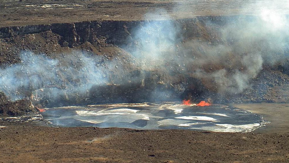 Kilauea Summit Lava Lake Overflows, Briefly