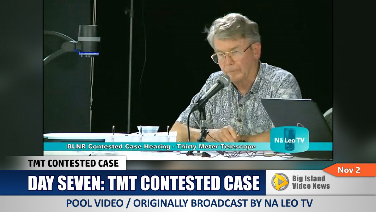 Robert McLaren testifies at the Nov. 2 TMT contested case hearing in Hilo.