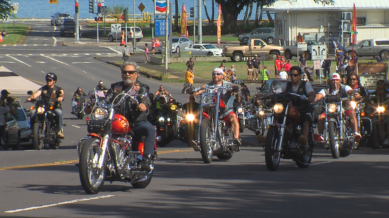 The parade began as it always does, led by Hilo's version of Washington DC's Rolling Thunder motorcycle convoy.