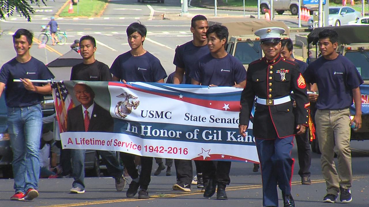 The late Hilo State Senator Gil Kahele and his 'Ohana were the Grand Marshal of the parade.