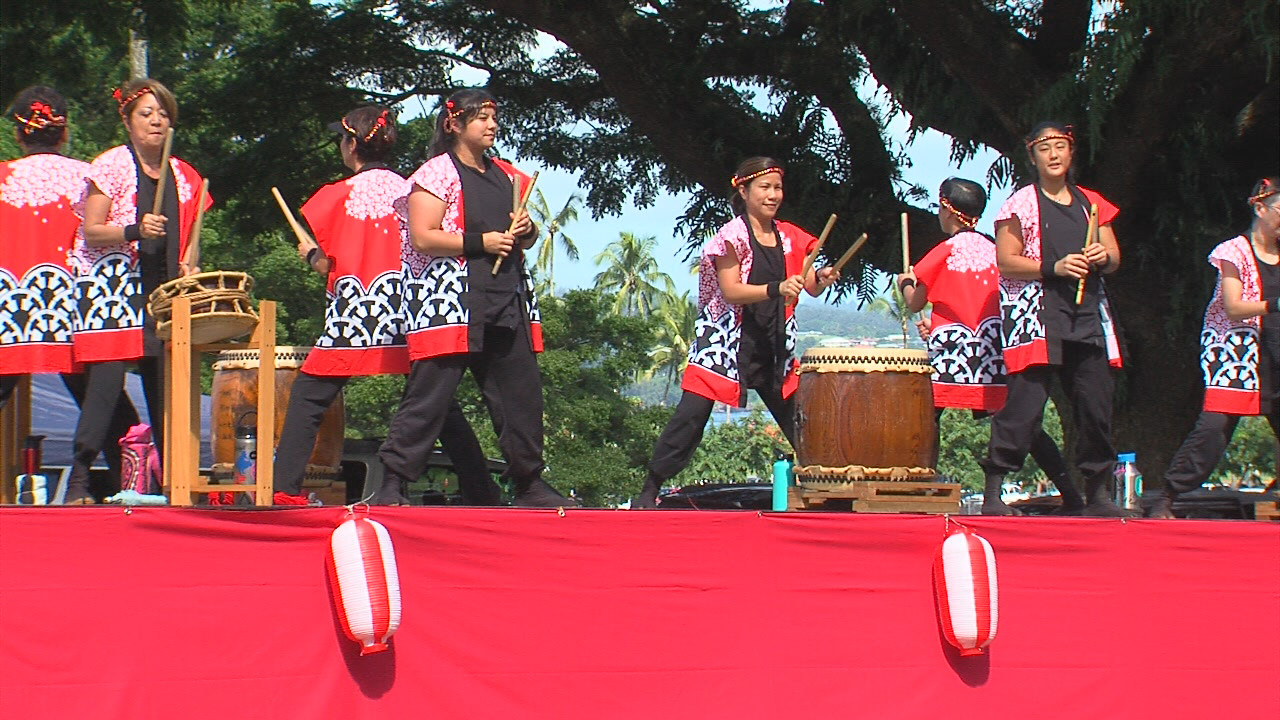 Taishoji Taiko, founded in 1989 in Hilo, ended the parade with a bang.