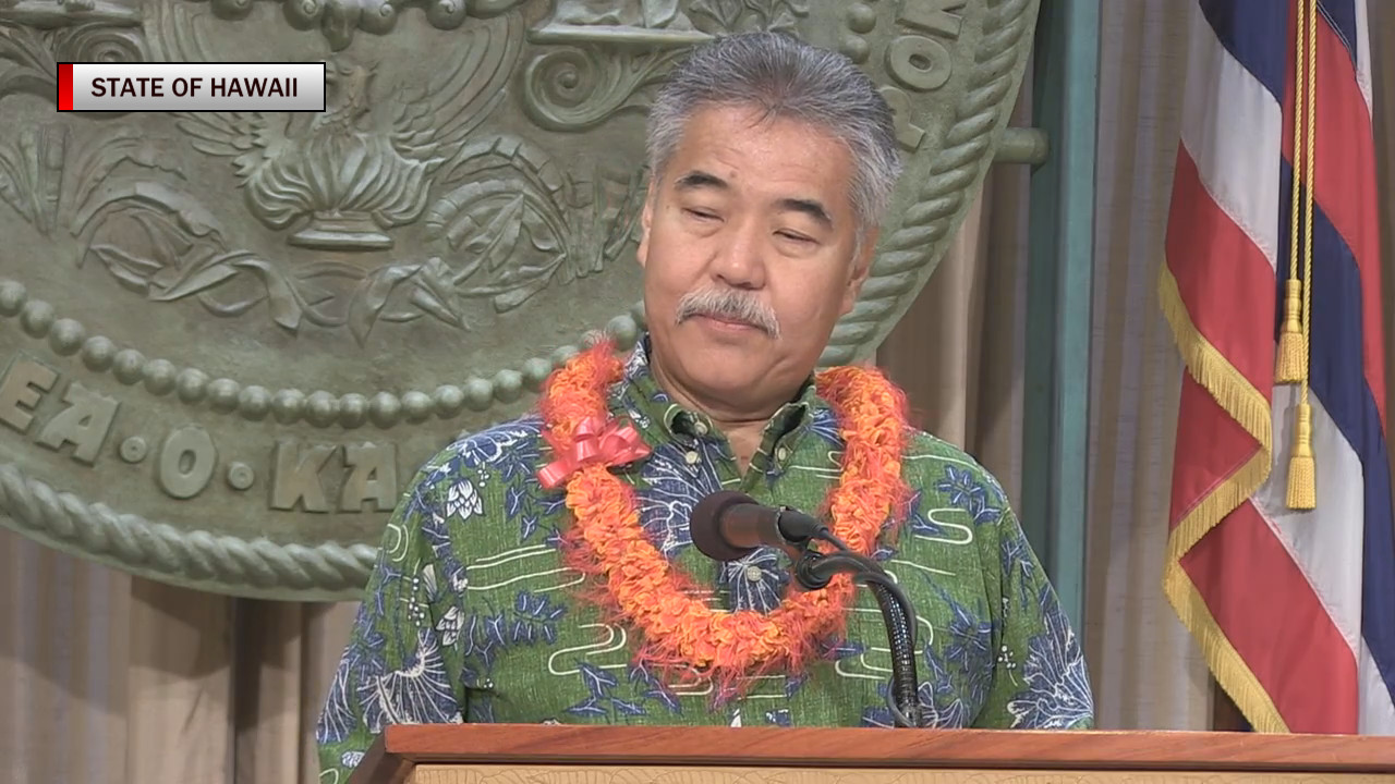 Governor Ige addresses media during a post-Japan press conference in Honolulu. (image from video courtesy State of Hawaii)
