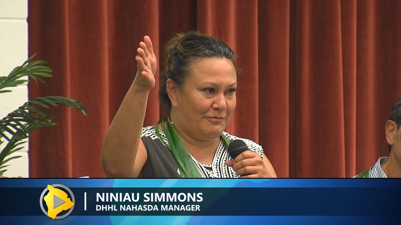DHHL NAHASDA Manager Niniau Simmons speaking in Hilo.