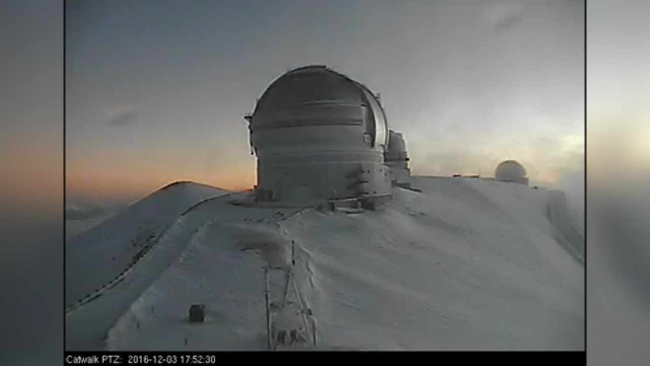 A view from the snowy summit on Saturday courtesy the Canada France Hawaii Telescope.