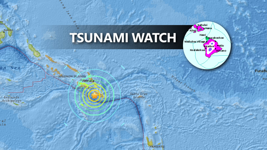 Hawaii Tsunami Watch Cancelled After Solomon Islands Quake