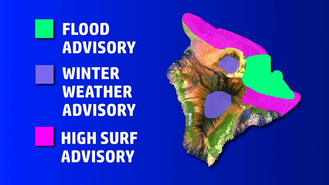 Flood, High Surf, and Winter Weather Advisories For Hawaii