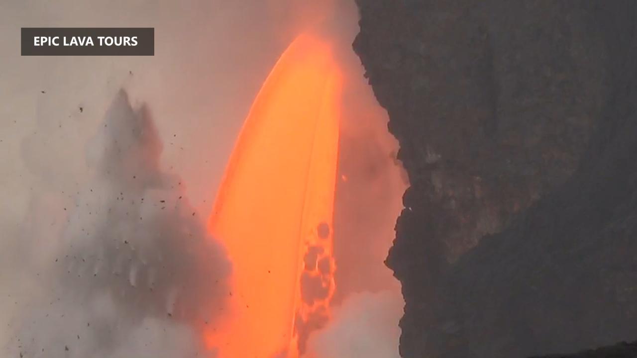 "VIDEO: Spectacular ""Lava Hose"" Continues Plunge Into Sea"