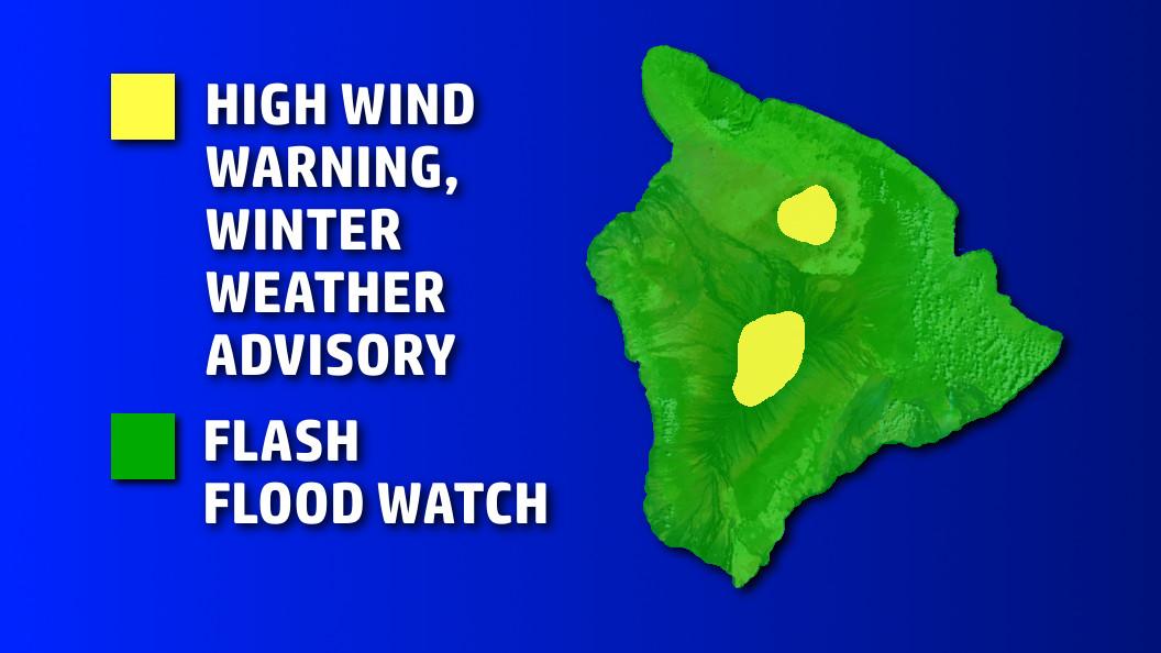 Hawaii Flood Watch Remains, Warning For Summits