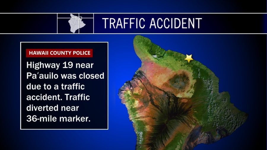 Traffic Accident Reported On Highway 19 Near Paauilo
