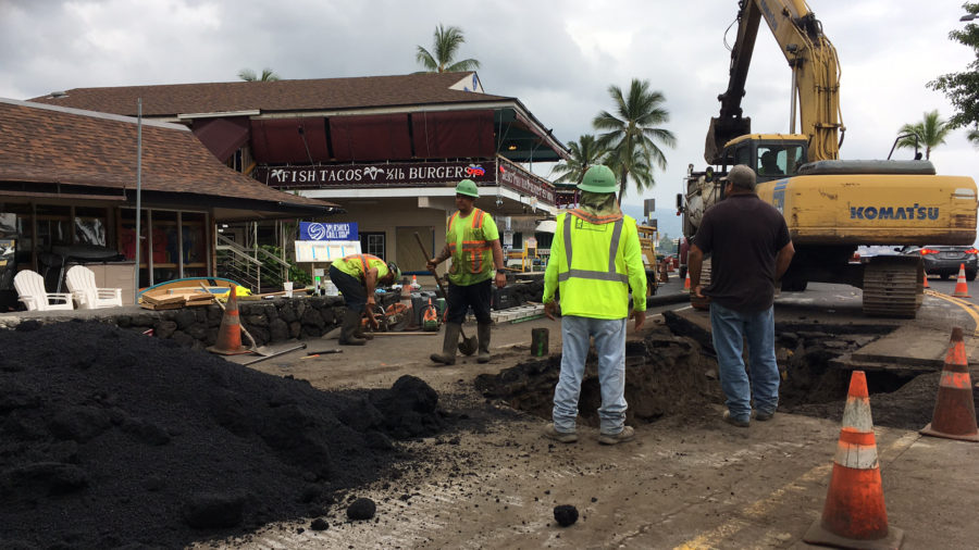 Repairs To Ruptured Sewer Main On Alii Drive Underway
