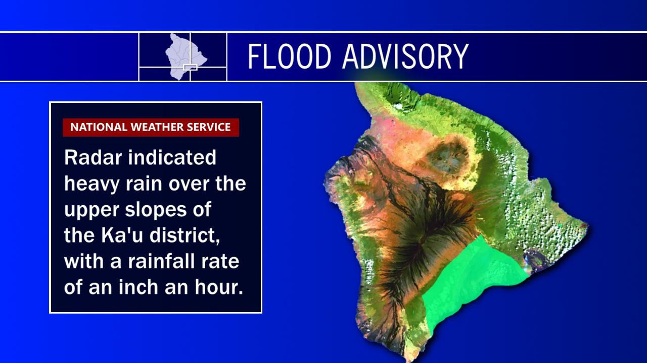 Flood Advisory Issued For Ka'u on Hawaii Island