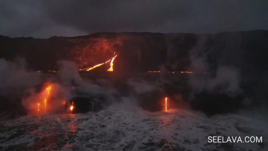 VIDEO: Lava Breakouts At Ocean Entry