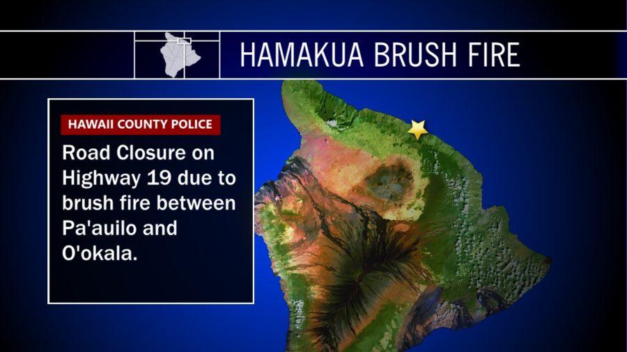 Brush Fire Closes Highway On Hamakua Coast