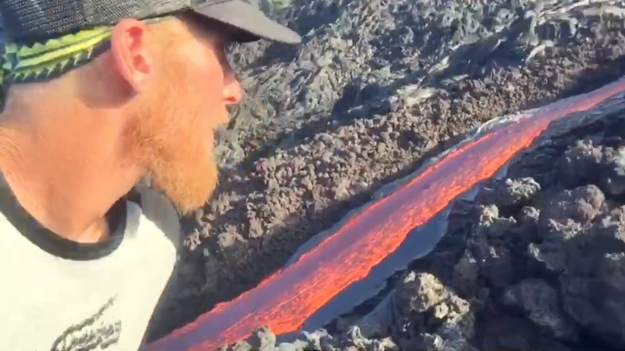 VIDEO: New Surface Lava Flows Stream Down Pali